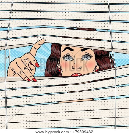 Shocked Woman Looking Through the Blinds. Pop Art Vector retro illustration