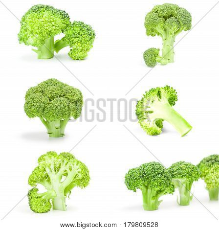 Collage of fresh green broccoli isolated on a white background