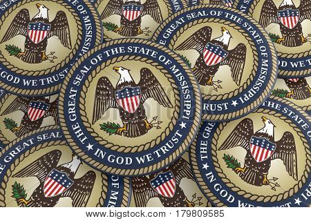 US State Buttons: Pile of Mississippi Seal Badges 3d illustration