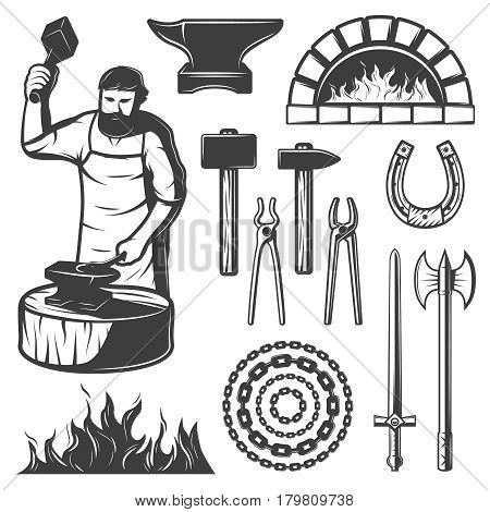 Vintage blacksmith elements set with anvil furnace working man weapons chain fire horseshoe pliers isolated vector illustration