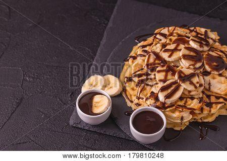 Belgium Waffles With Banana And Hot Chocolate