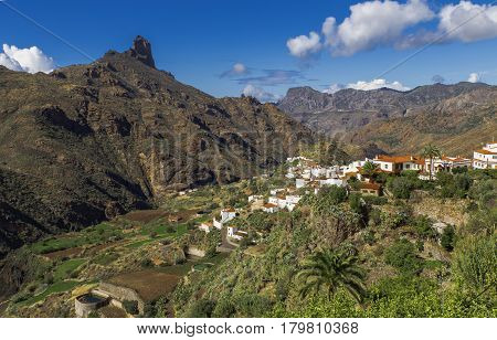 View On Mountain Roque Bentayga And Villiage Tejeda On Gran Canaria