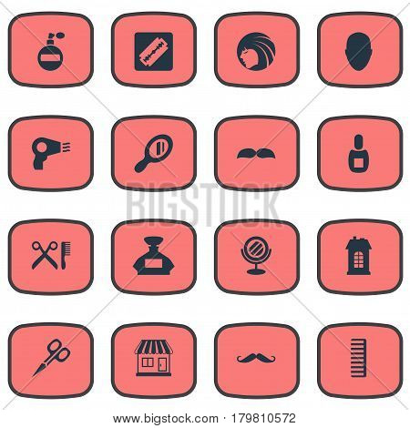 Vector Illustration Set Of Simple Barber Icons. Elements Shaver, Scent, Premises And Other Synonyms Head, Male And Reflector.