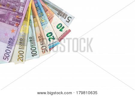 Various Denominations Of Euro  Banknotes Isolated On White. Place For Text.