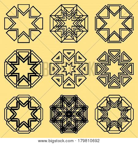 A set of northern ornaments. Motives of northern stars of northern peoples in a set of nine ornaments.