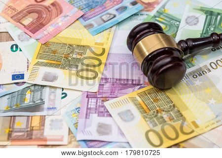 Justice And Euro Currency Money. Representation Of Corruption And Bribery In The Judiciary.