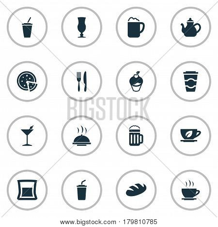 Vector Illustration Set Of Simple Beverage Icons. Elements Coffee Late, Pepperoni, Muffin And Other Synonyms Soda, Bakery And Beverage.