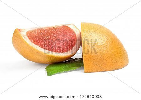 Two wedges of grapefruit isolated on white background cutout.