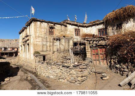 Traditional Nepalese village Jhong, Himalayas Mustang Region