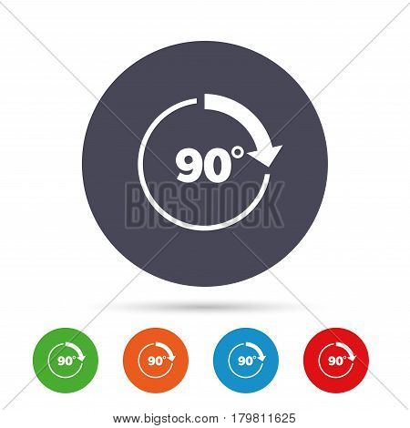 Angle 90 degrees sign icon. Geometry math symbol. Right angle. Round colourful buttons with flat icons. Vector