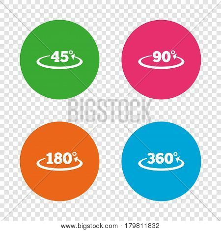 Angle 45-360 degrees icons. Geometry math signs symbols. Full complete rotation arrow. Round buttons on transparent background. Vector