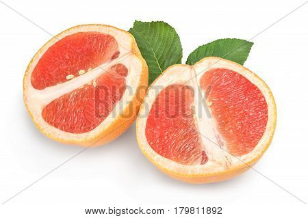 Two halves of ripe grapefruit isolated isolated on white background cutout.