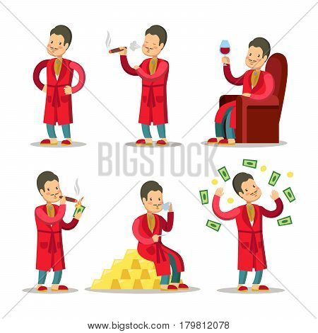 Happy Cartoon Rich Man with Money and Cigar. Successful Senior Businessman. Vector illustration