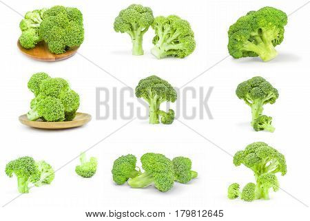 Group of broccoli floret isolated on a white cutout