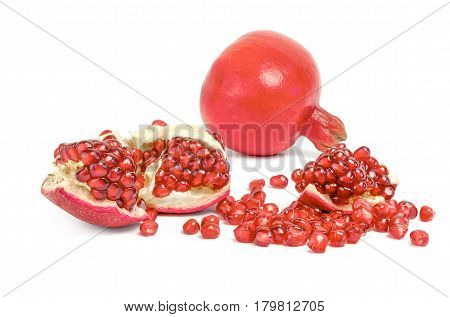 Pomegranate slices isolated on a white background cutout