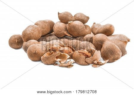 Tamarindus indica isolated on a white background with clipping path