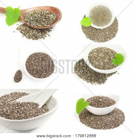 Group of chia seeds over a white background