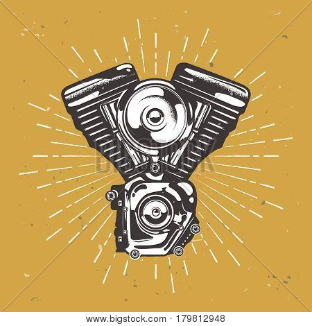 Hight detailed vintage moto engine with retro star burst, motorbike engine, vector stock illustration