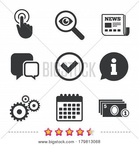 ATM cash machine withdrawal icons. Click here, check PIN number, processing and cash withdrawal symbols. Newspaper, information and calendar icons. Investigate magnifier, chat symbol. Vector