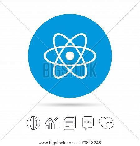 Atom sign icon. Atom part symbol. Copy files, chat speech bubble and chart web icons. Vector