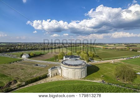 View of the complex of Waterloo memorial, where Napoleon lost his most famous battle. With Panorama building in foreground and new visitor centre to the left