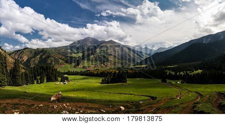 Panorama view to Jeti-Oguz aka Seven Bulls valley in Kyrgyzstan