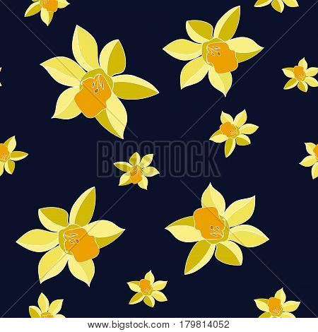 Seamless Vector Yellow daffodil flowers on the dark background. Floral pattern with narcissus flowers. Fashion style for prints silk textile cushion pillow kerchief. Texture for clothes bedclothes