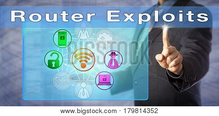 Blue chip security consultant identifying Router Exploits in a network. Information technology and computer security concept for cyber attacks exploiting vulnerabilities in unsecured router hardware.