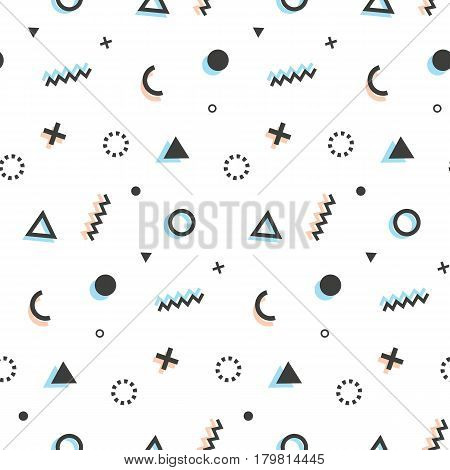 Geometric seamless pattern background in retro 80s-90s style. Memphis trendy art. Abstract poster, surface, card design, textile fabric. Vector illustration poster