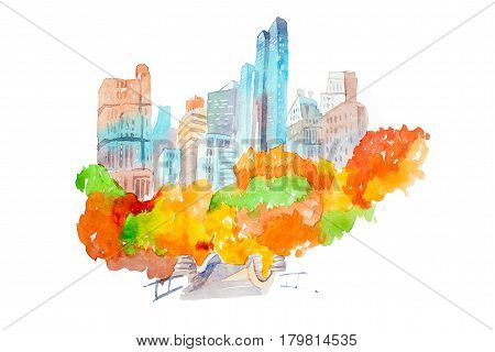 City park in autumn skyscrapers and colorful trees watercolor illustration
