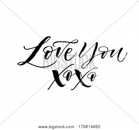 Love you card. Phrase for Valentine's day. Ink illustration. Modern brush calligraphy. Isolated on white background.