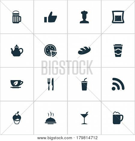 Vector Illustration Set Of Simple Beverage Icons. Elements Beer, Favorite, Smoothie And Other Synonyms Favorite, Shake And Alcohol.