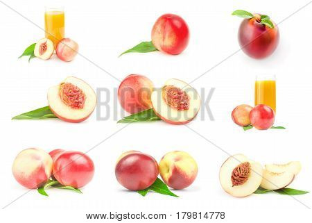 Collection of ripe peaches on a white background