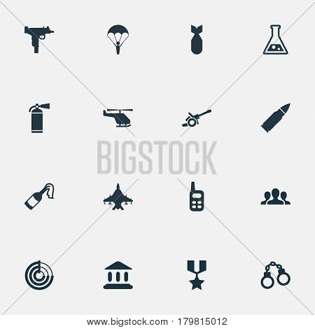 Vector Illustration Set Of Simple War Icons. Elements Nuke, Firearm, Manacles And Other Synonyms Force, Chemistry And Team.