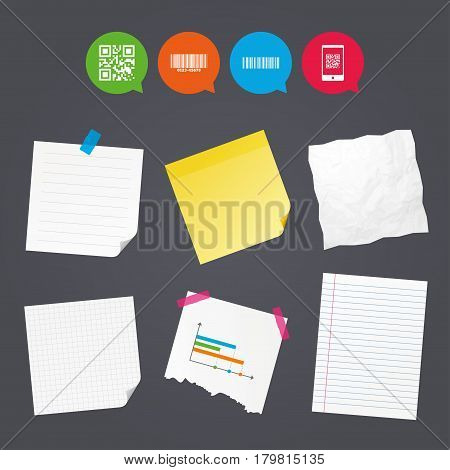 Business paper banners with notes. Bar and Qr code icons. Scan barcode in smartphone symbols. Sticky colorful tape. Speech bubbles with icons. Vector