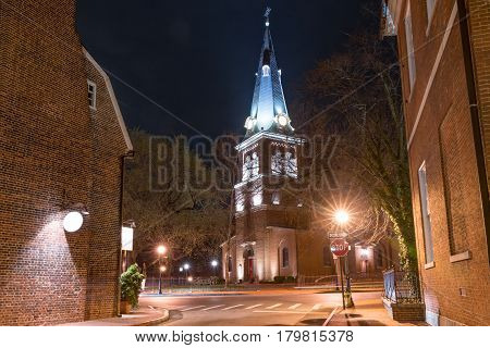 Night photo of the historic St Ann's Episcopal Church in Annapolis Maryland
