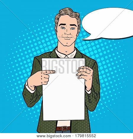 Young Businessman Pointing at Blank Sheet. Business Presentation. Pop Art retro Vector illustration
