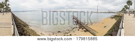 Cadiz bay panoramic view ant the new bridge called Pepa or the 1812 Constitution Andalucia Spain