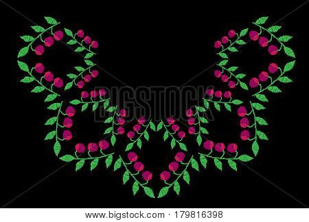 Green leaf with pink berry embroidery stitches imitation on the black background. Vector embroidery for collar shirts blouses clothes and textile.