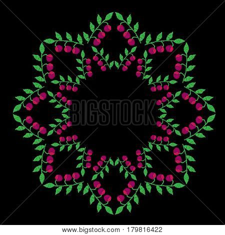 Green leaf with pink berry frames embroidery stitches imitation on the black background. Vector berry wreath for card invitation posters texture backgrounds placards banners.