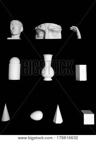 Plaster forms of figures on black background - the contrast of shapes objects isolated. Abstract visual gypsum exhibits for art.