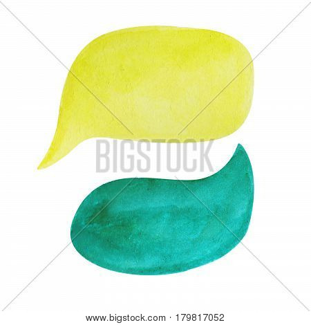 Watercolor speech bubble on white background. Emerald green and yellow text bubble cloud hand-drawn element. Isolated bubble clipart. Conversation or dialogue illustration. Hand-painted comic drawing