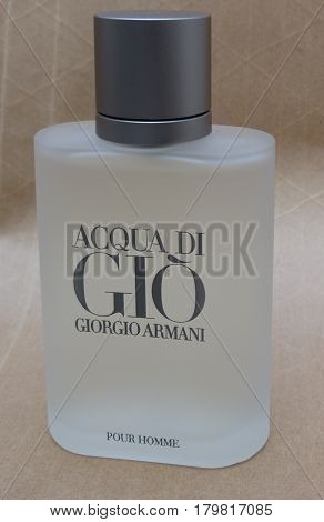 MILAN ITALY - CIRCA MARCH 2014: Giorgio Armani Acqua di Gio fragrance for men is one of the evergreen bestselling perfumes worldwide
