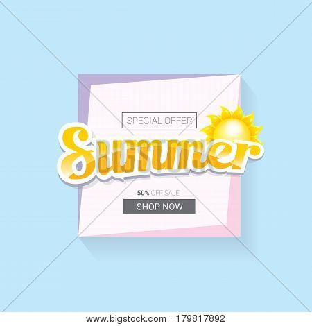 vector summer sale template banner. Summer sale label or background with beautiful sun and text