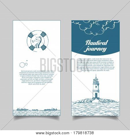 Leaflet. Marine theme. The lighthouse in the sea. Reefer sails on the waves of the sea. It can be use for a company that deals with cargo transportation or travel. Sketch style. Vector illustration