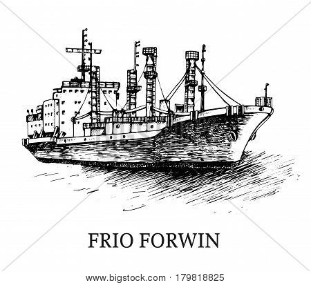 Cargo ship, reefer Forwin. Vector illustration. Traced image. Original drawings by hand, you can also find in my portfolio BITMAP folder.