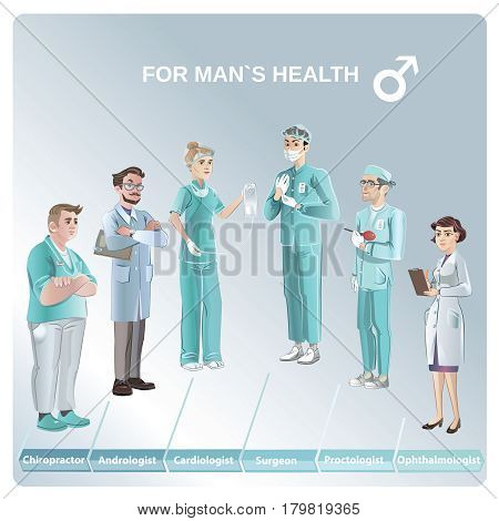 Cartoon doctors set with different medical specialists caring about male health isolated vector illustration