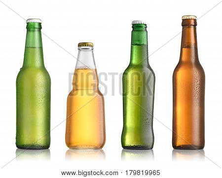 Collection of full beer bottles with no labels isolated on white background