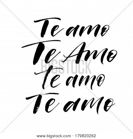Collection of i love you phrases in Spanish. Phrase for Valentine's day. Ink illustration. Modern brush calligraphy. Isolated on white background.