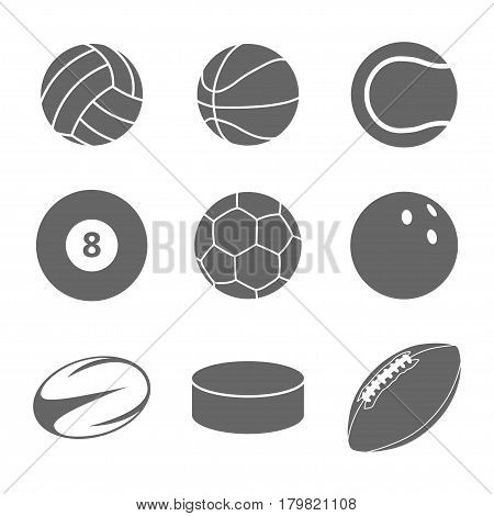 Sport balls icon set. Gray icons on white background. Different balls for many sports. Isolated vector illustration.